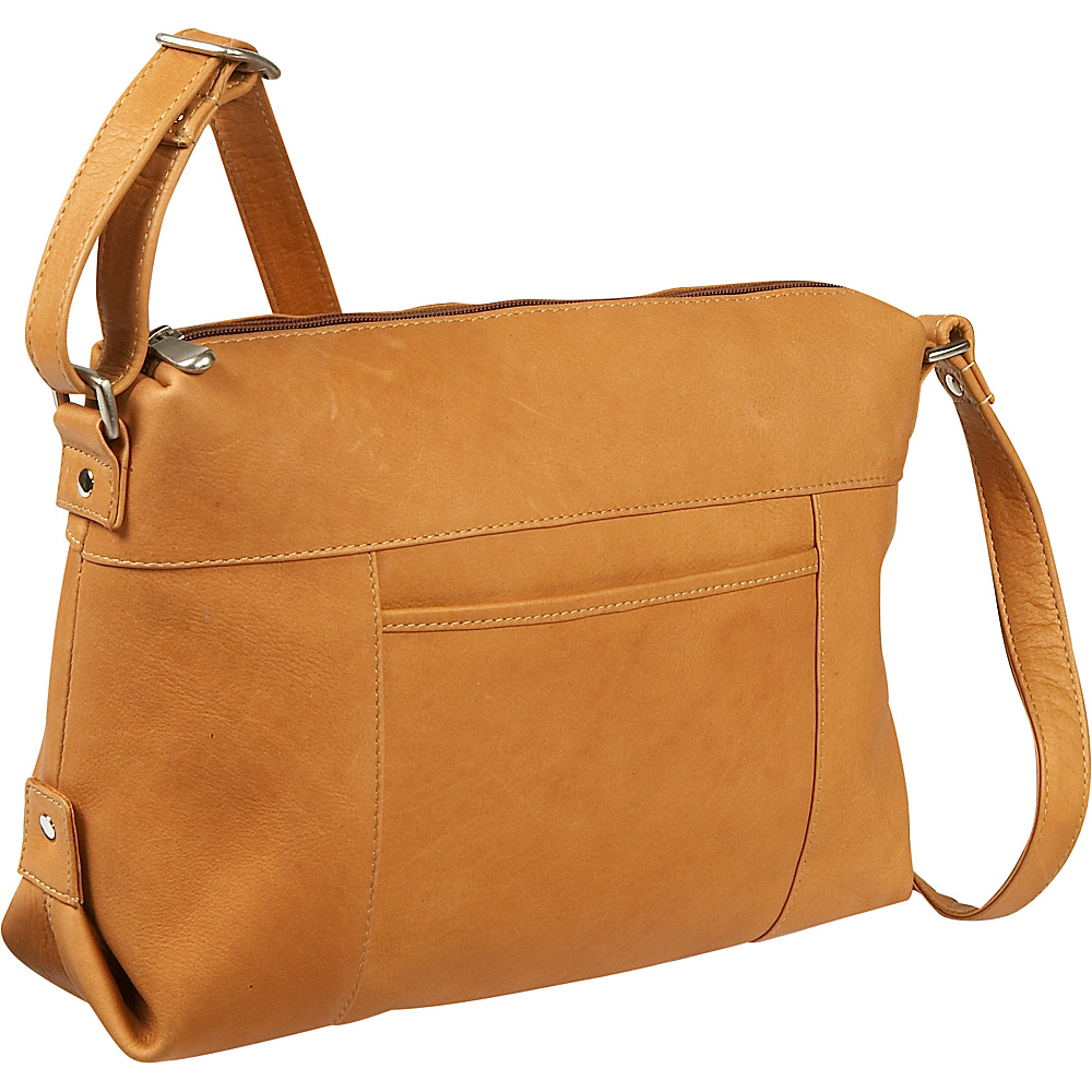 Le Donne Leather Top Zip Front Slip Shoulder Bag - Tan - Handbags, Leather Handbags