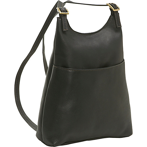 Le Donne Leather Women's Sling BackPack Purse - Black