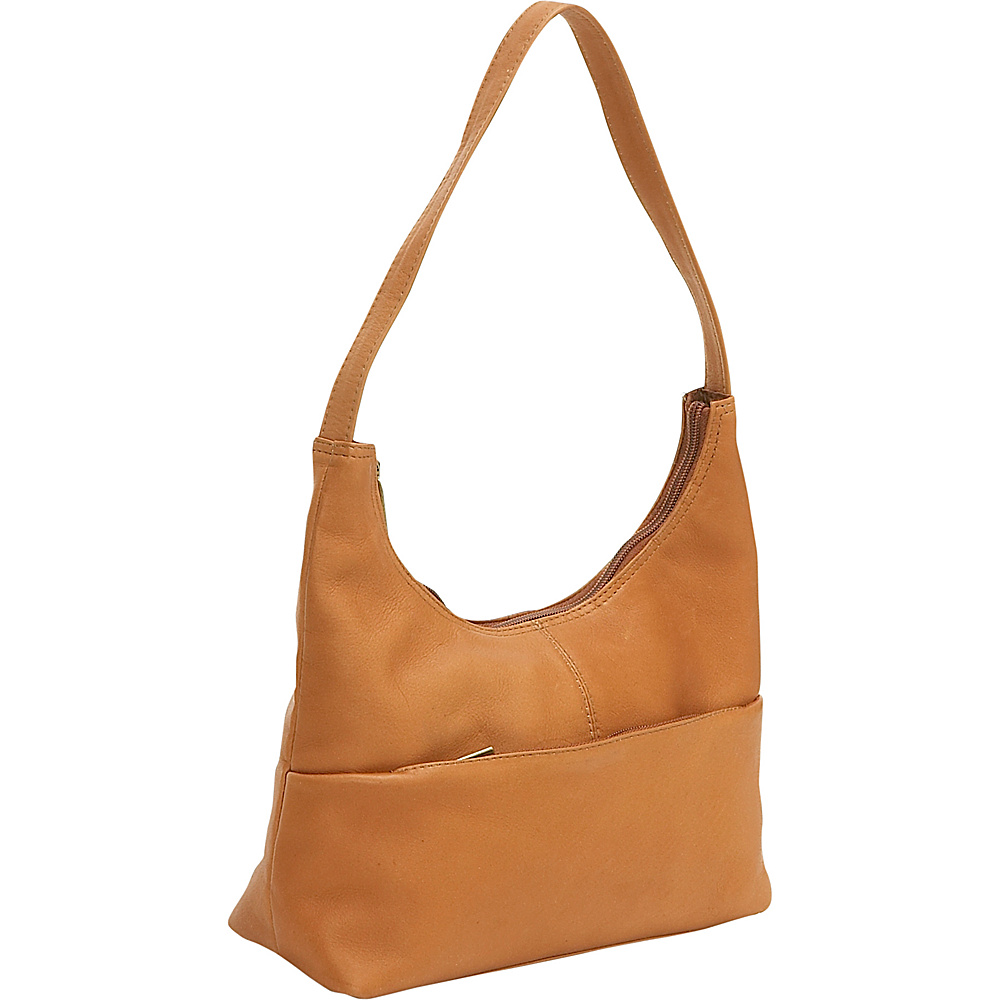Le Donne Leather Top Zip Hobo - Tan - Handbags, Leather Handbags
