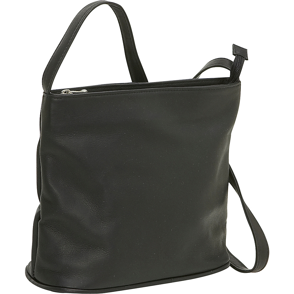 Le Donne Leather Zip Top Shoulder Bag - Black - Handbags, Leather Handbags