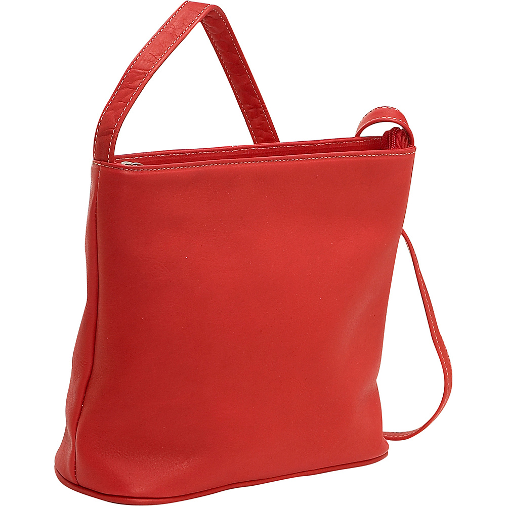 Le Donne Leather Zip Top Shoulder Bag Red - Le Donne Leather Leather Handbags