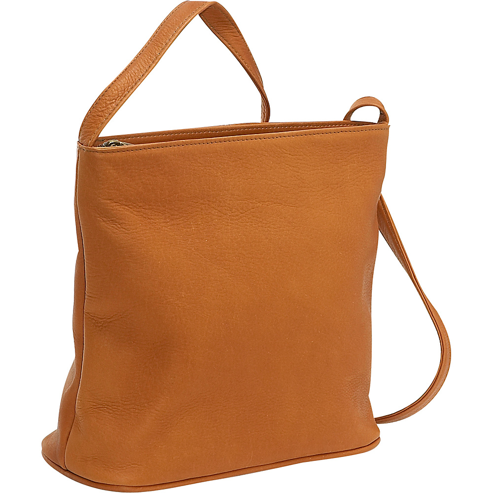 Le Donne Leather Zip Top Shoulder Bag - Tan - Handbags, Leather Handbags