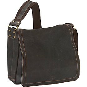 Distressed Leather Full Flap Laptop Messenger - M Chocolate