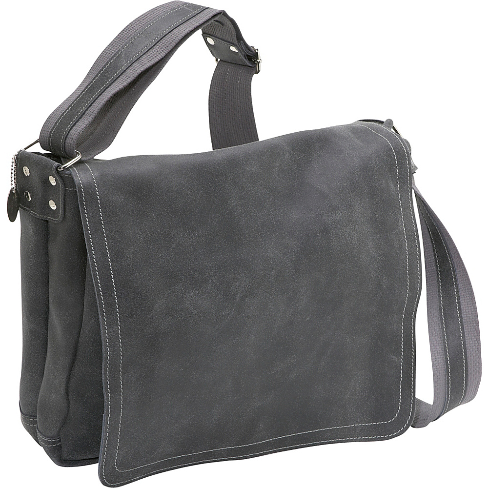 David King & Co. Distressed Leather Full Flap Laptop Messenger - M Distressed Grey - David King & Co. Messenger Bags - Work Bags & Briefcases, Messenger Bags