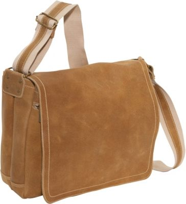 David King & Co. Distressed Leather Full Flap Laptop Messenger - M Distressed Tan - David King & Co. Messenger Bags
