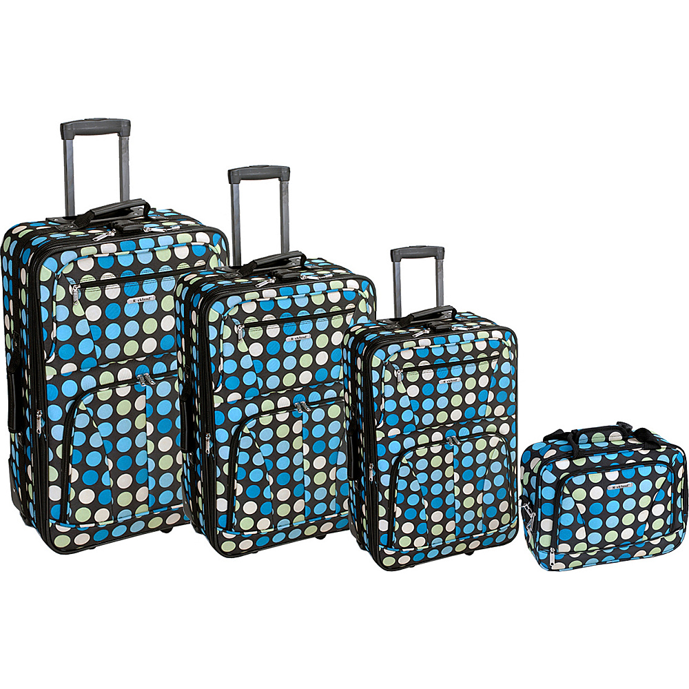 Rockland Luggage Polka Dot 4-Piece Expandable Luggage Set Blue Dot - Rockland Luggage Luggage Sets