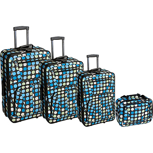 Rockland Luggage Polka Dot Expandable 4 Piece Luggage Set. Blue Dot - Rockland Luggage Luggage Sets
