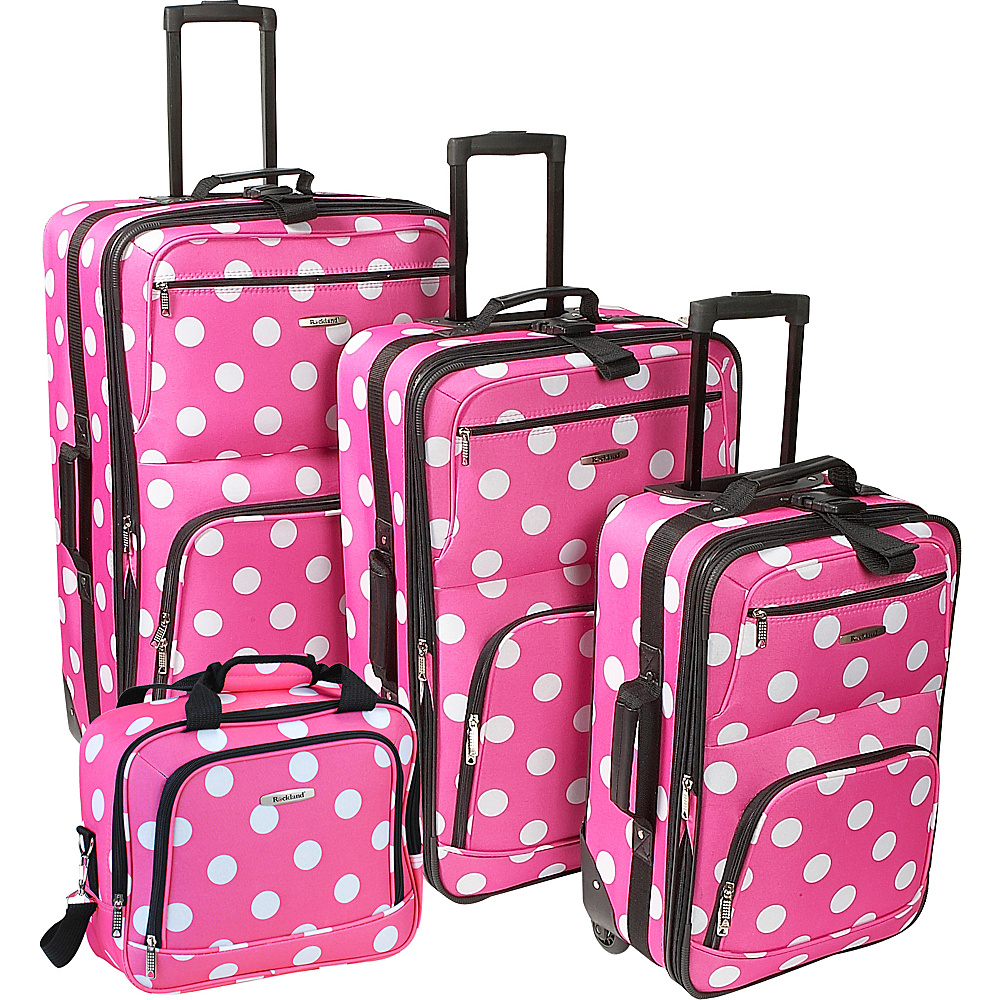 Rockland Luggage Polka Dot 4-Piece Expandable Luggage Set Pink Dot - Rockland Luggage Luggage Sets - Luggage, Luggage Sets