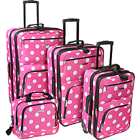 Polka Dot Expandable 4 Piece Luggage Set. Pink Dot