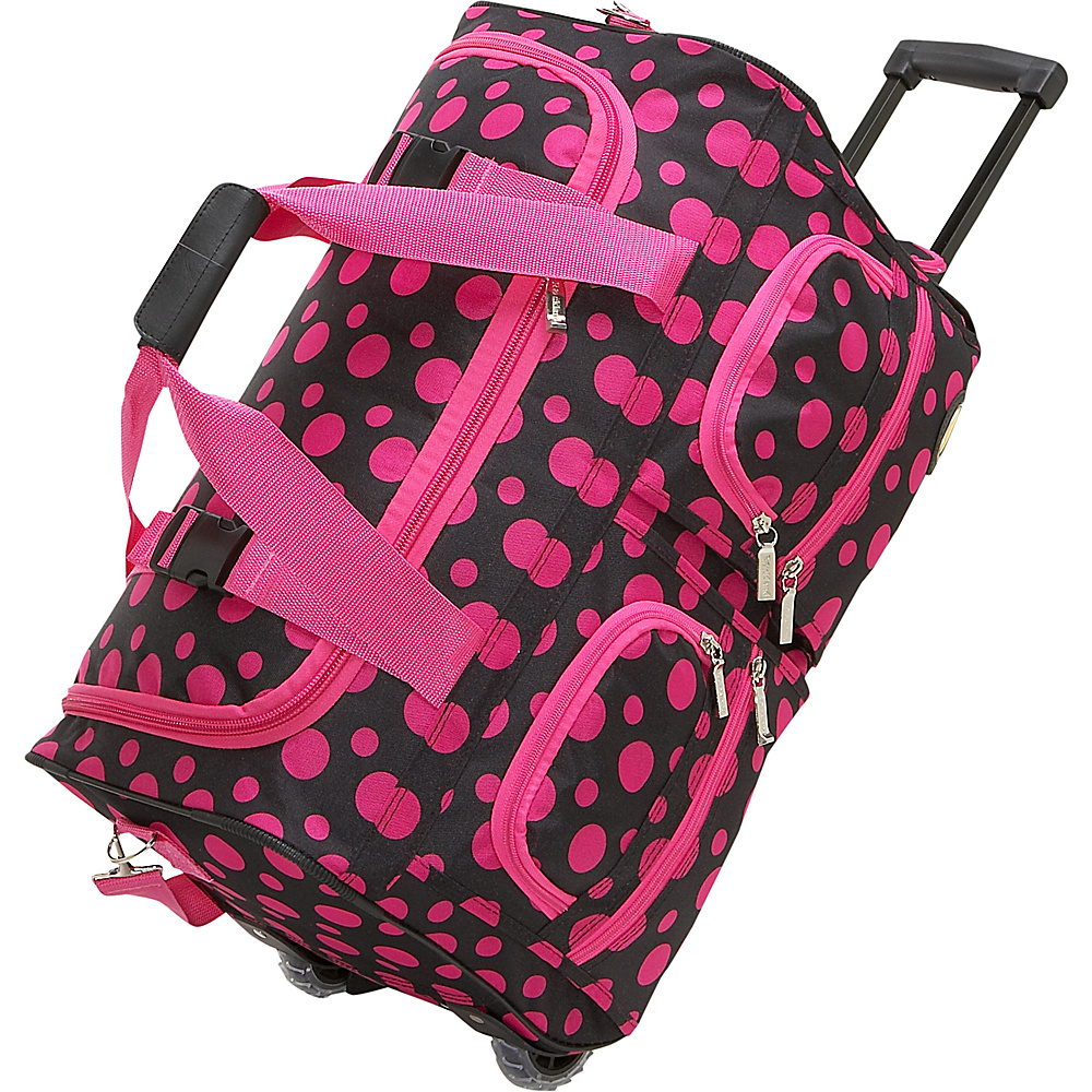 Rockland Luggage 22 Rolling Duffle Bag - Black & Pink - Luggage, Softside Carry-On