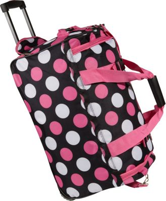 Rockland Luggage 22 inch Rolling Duffle Bag Multi Pink Dot - Rockland Luggage Softside Carry-On