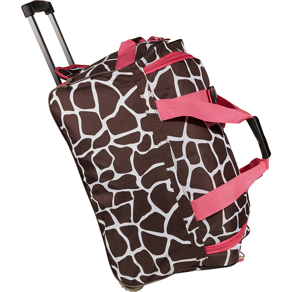 Rockland Luggage 22 Rolling Duffle Bag Pink Giraffe - Rockland Luggage Softside Carry-On - Luggage, Softside Carry-On