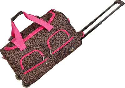 Rockland Luggage 22 inch Rolling Duffle Bag PinkLeopard - Rockland Luggage Softside Carry-On