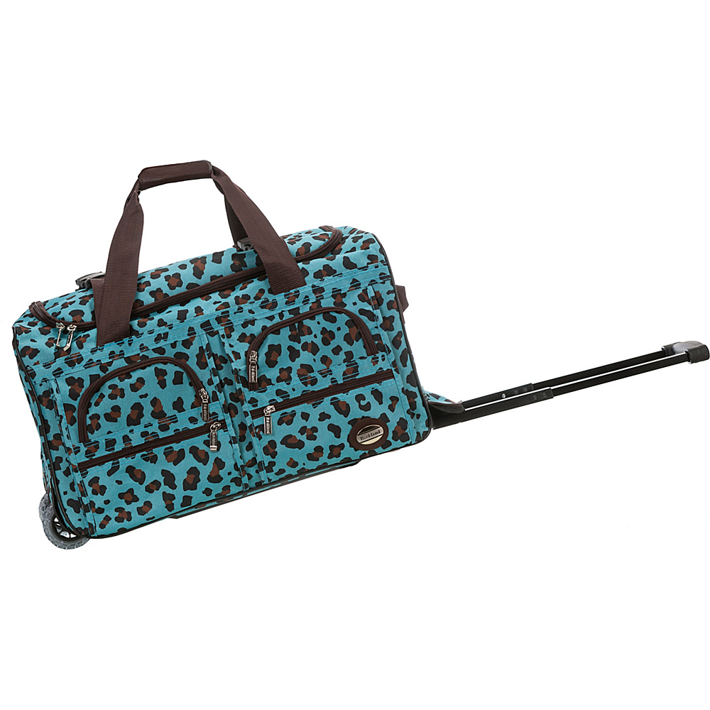 Rockland Luggage 22 Rolling Duffle Bag BLUE LEOPARD Rockland Luggage Softside Carry On