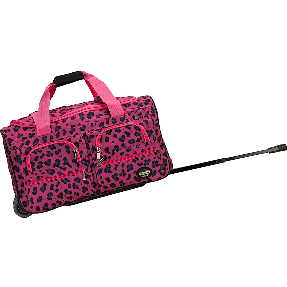 Rockland Luggage 22 Rolling Duffle Bag MAGENTA LEOPARD Rockland Luggage Softside Carry On