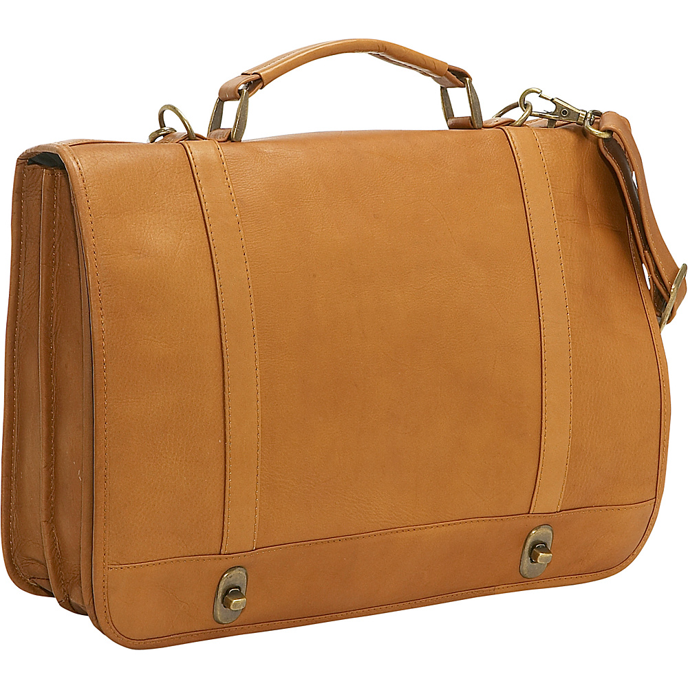 Le Donne Leather Flap Over Twist Lock Brief - Tan - Work Bags & Briefcases, Non-Wheeled Business Cases