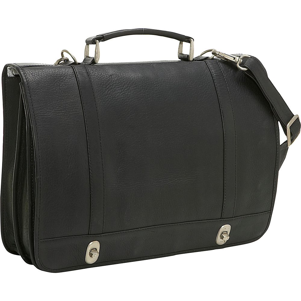 Le Donne Leather Flap Over Twist Lock Brief - Black - Work Bags & Briefcases, Non-Wheeled Business Cases