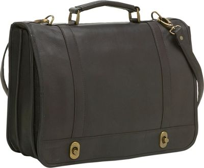 Ledonne Leather Flap Over Twist Lock Brief - Caf