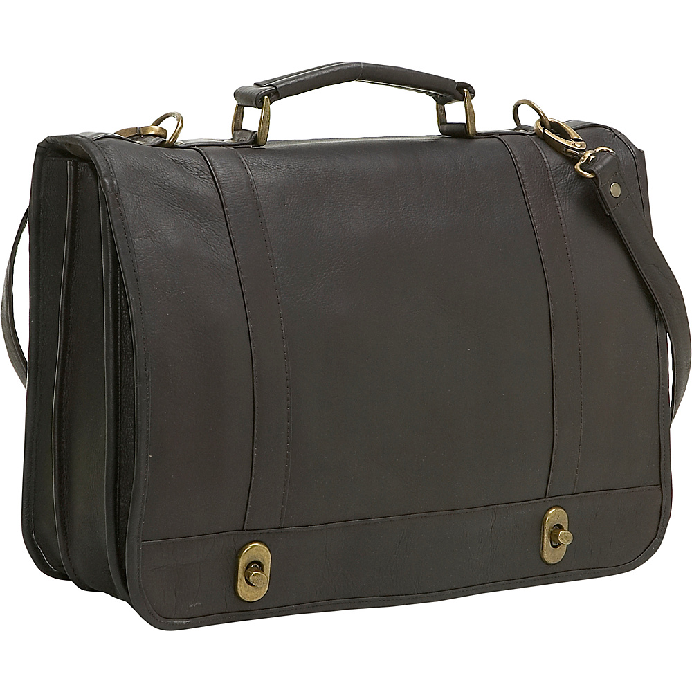 Le Donne Leather Flap Over Twist Lock Brief - Caf - Work Bags & Briefcases, Non-Wheeled Business Cases