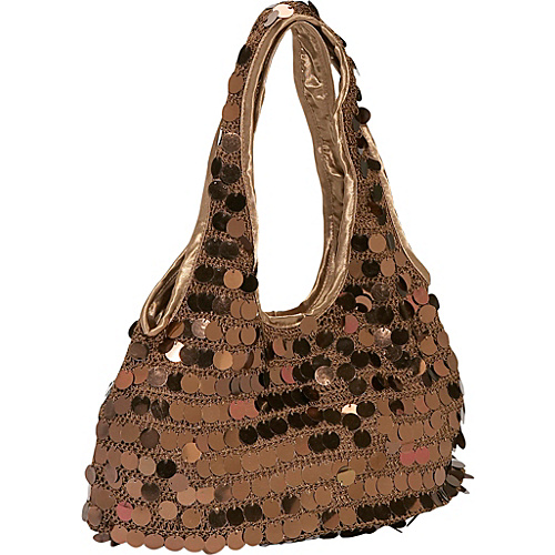 Prezzo Sequin Disk Knit Hobo Bronze