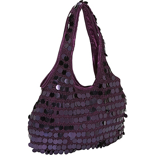 Prezzo Sequin Disk Knit Hobo Plum