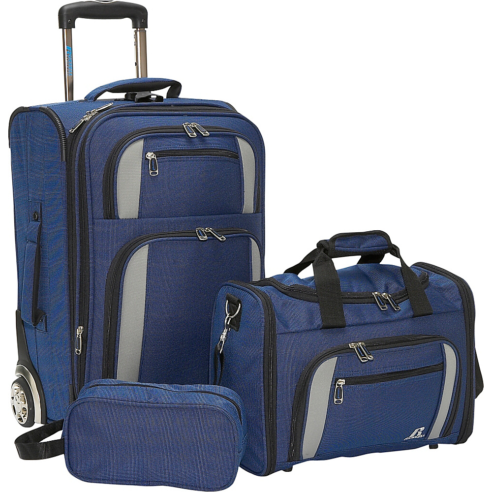 Russell Expandable 3 Piece Set - Royal/Black/Grey - Luggage, Luggage Sets