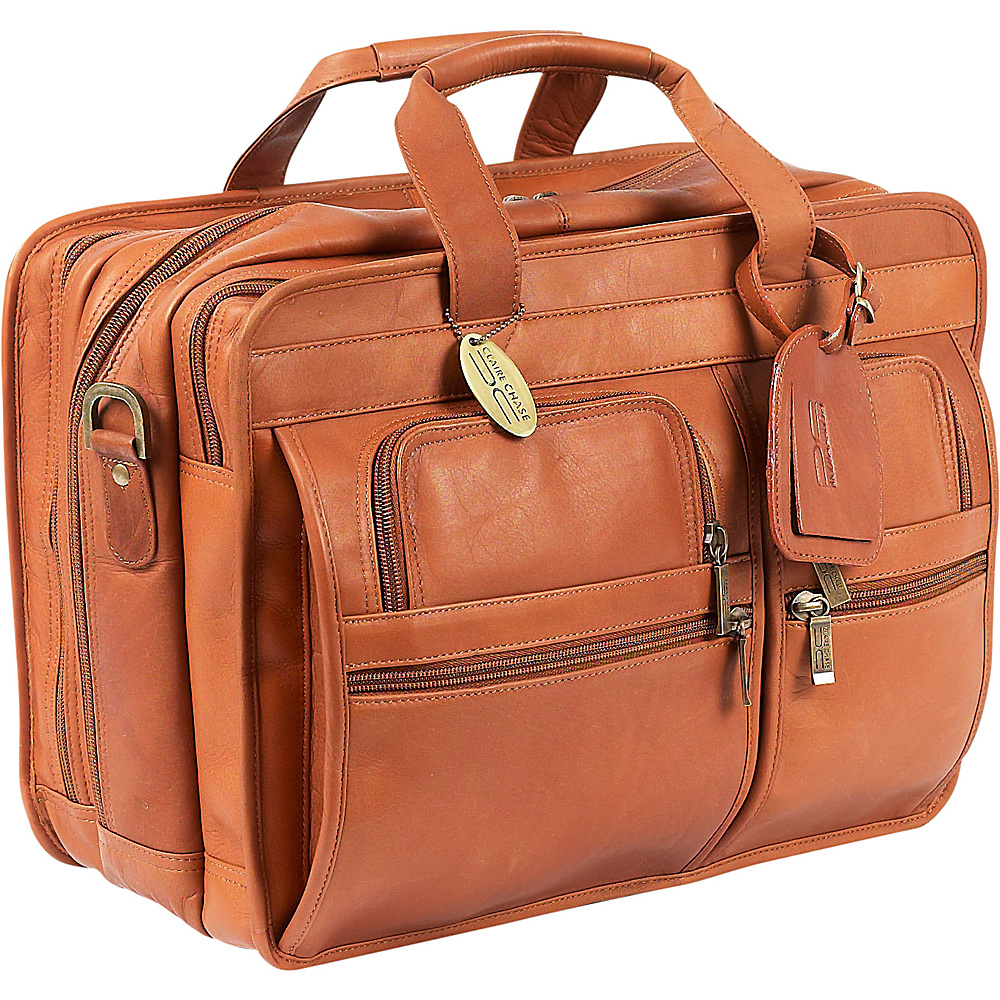 ClaireChase Executive Briefcase X-wide - Saddle - Work Bags & Briefcases, Non-Wheeled Business Cases