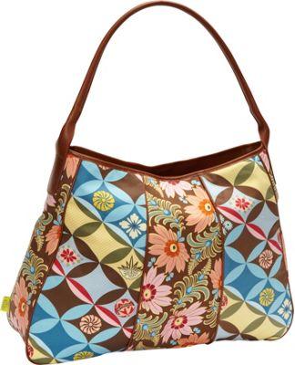 Amy Butler for Kalencom Opal Fashion Bag Chocolate Fern Flower - Amy Butler for Kalencom Fabric Handbags