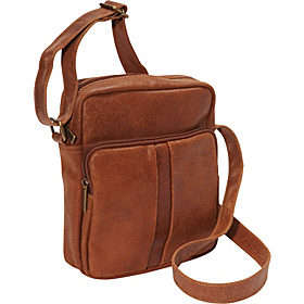Distressed Leather Men's Day Bag Tan