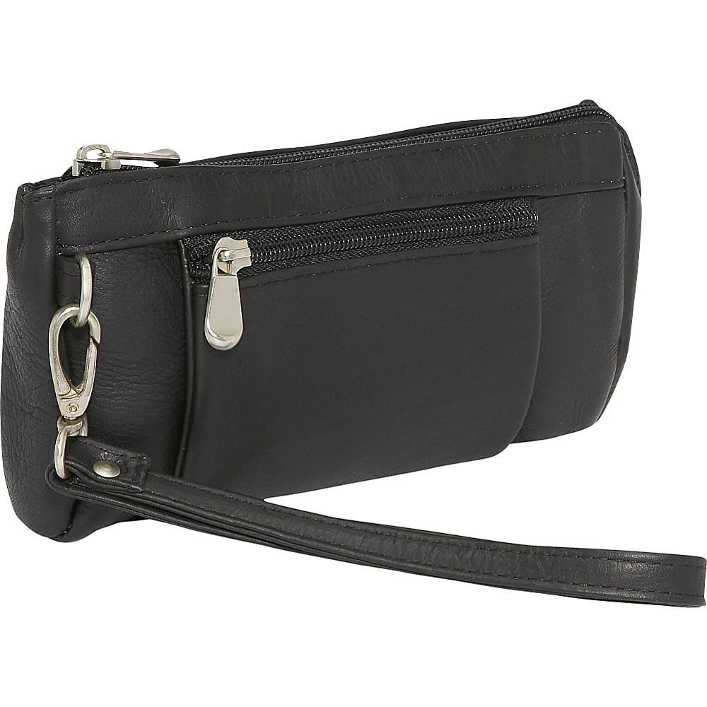 Le Donne Leather Large Wristlet Wallet Black