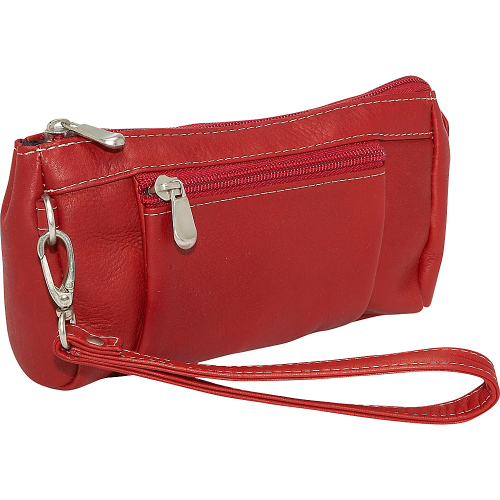 Le Donne Leather Large Wristlet Wallet Red