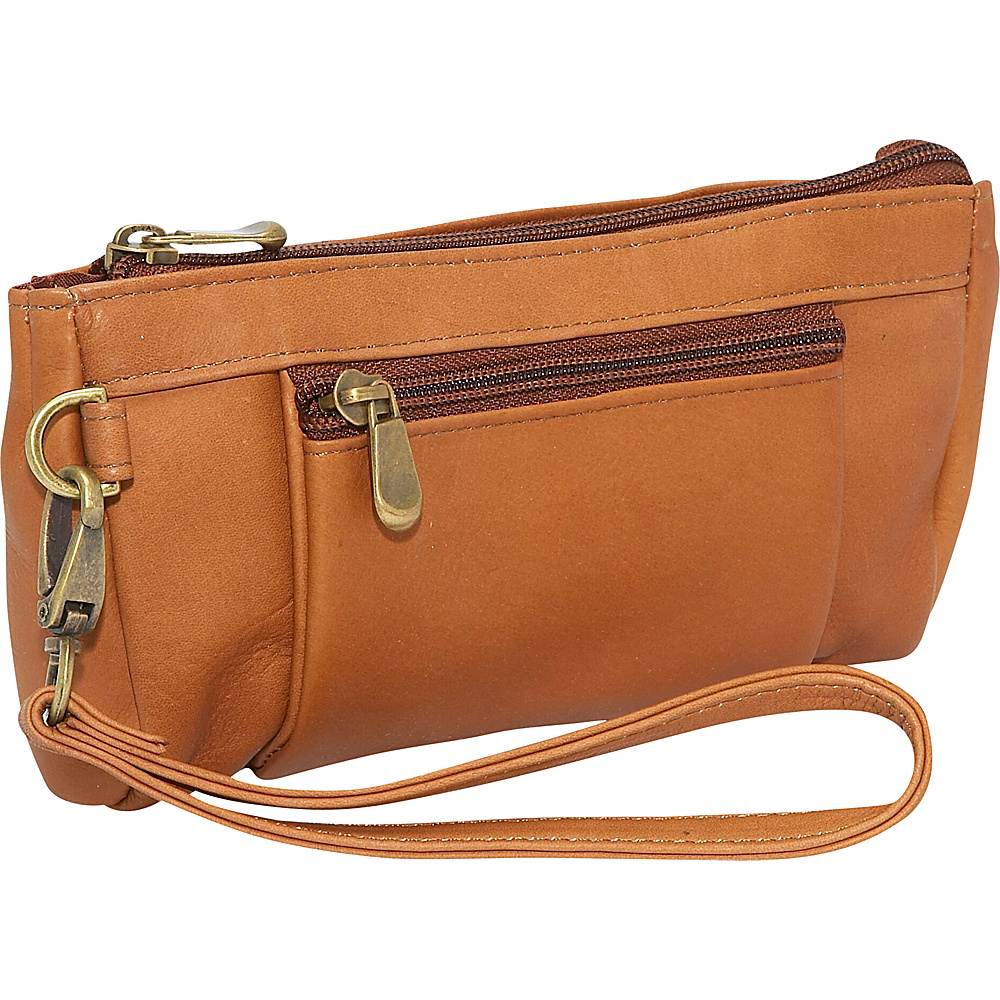 Le Donne Leather Large Wristlet Wallet Tan