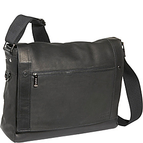 Busi-Mess Essentials - Columbian Leather Messenger Bag Black