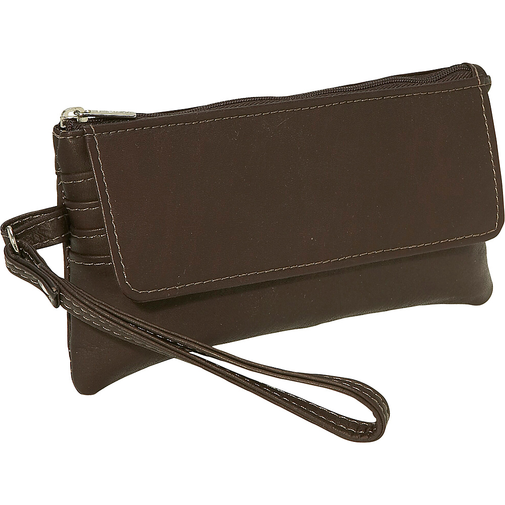 Piel Flap-Over Wristlet - Chocolate - Handbags, Leather Handbags