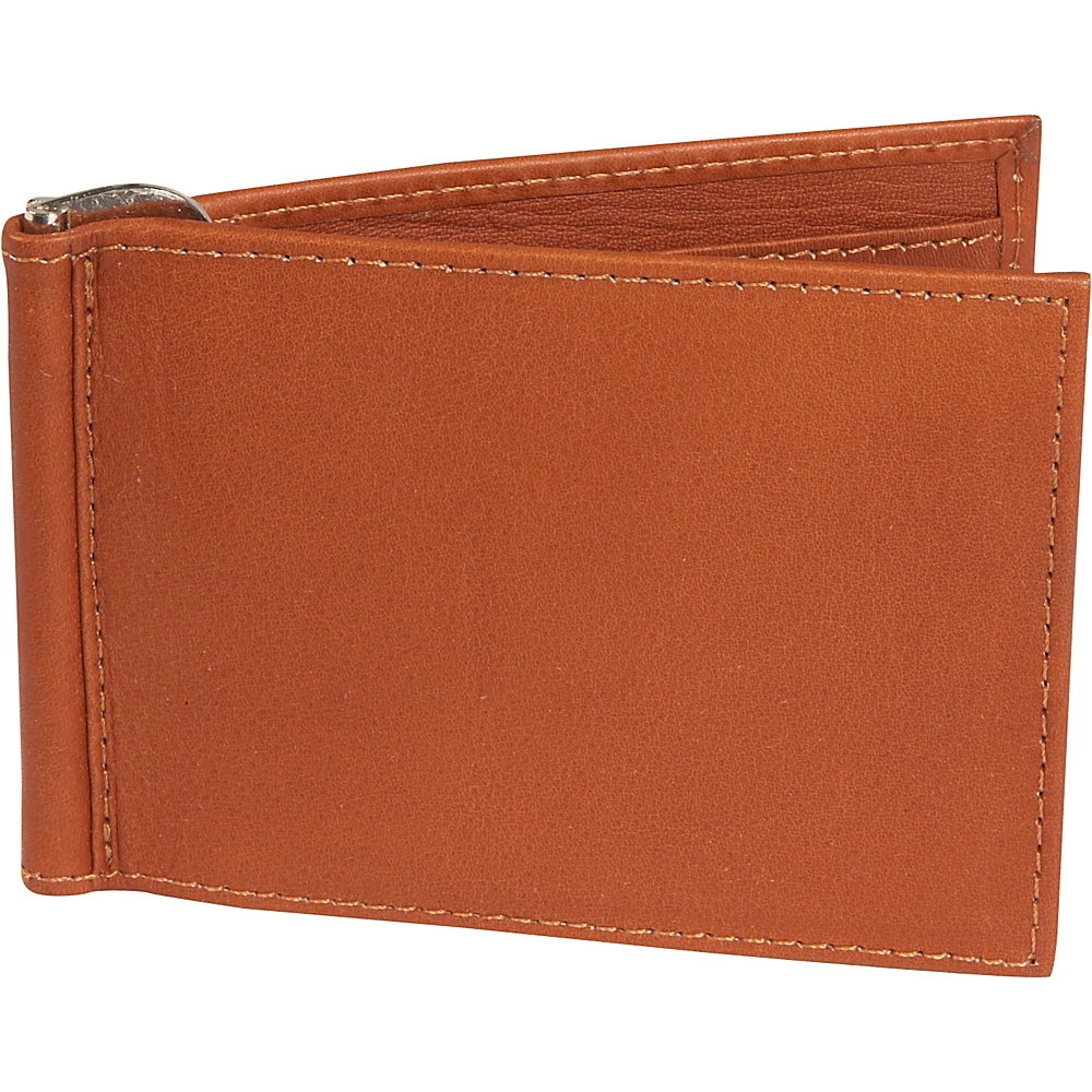 Piel Bi fold Money Clip Wallet Saddle