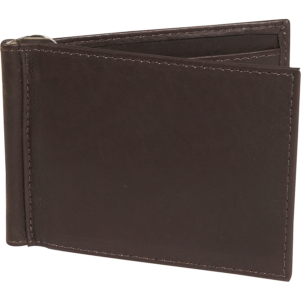 Piel Bi-fold Money Clip Wallet Chocolate - Piel Men's Wallets