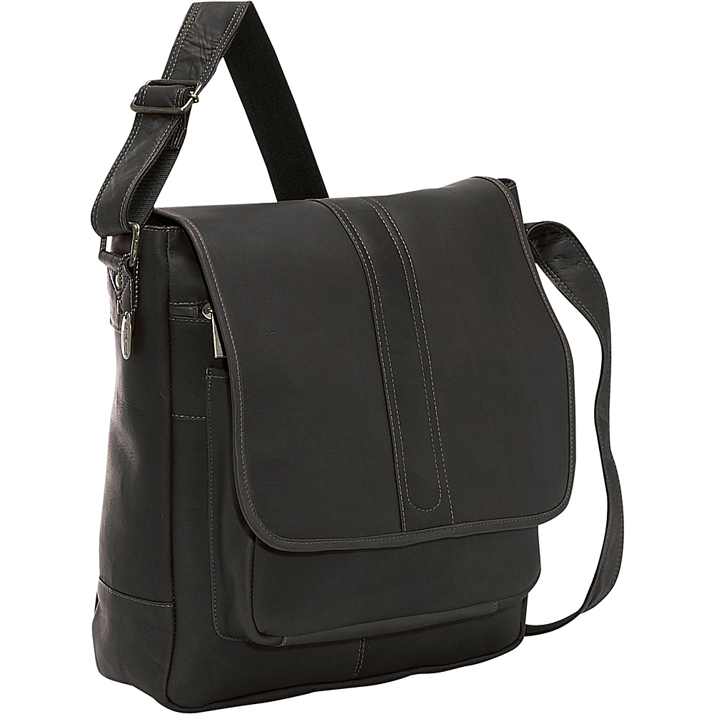 David King Co. Laptop Messenger w Front Gusset Pocket Black David King Co. Messenger Bags