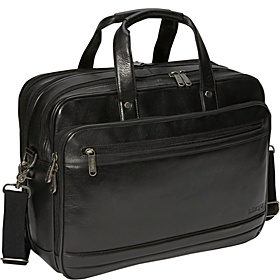 Wall Street Deluxe Full-Grain Leather Laptop Brief Black