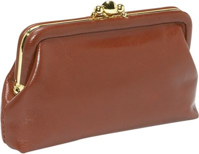 Budd Leather 5 inch Double Purse - Tan