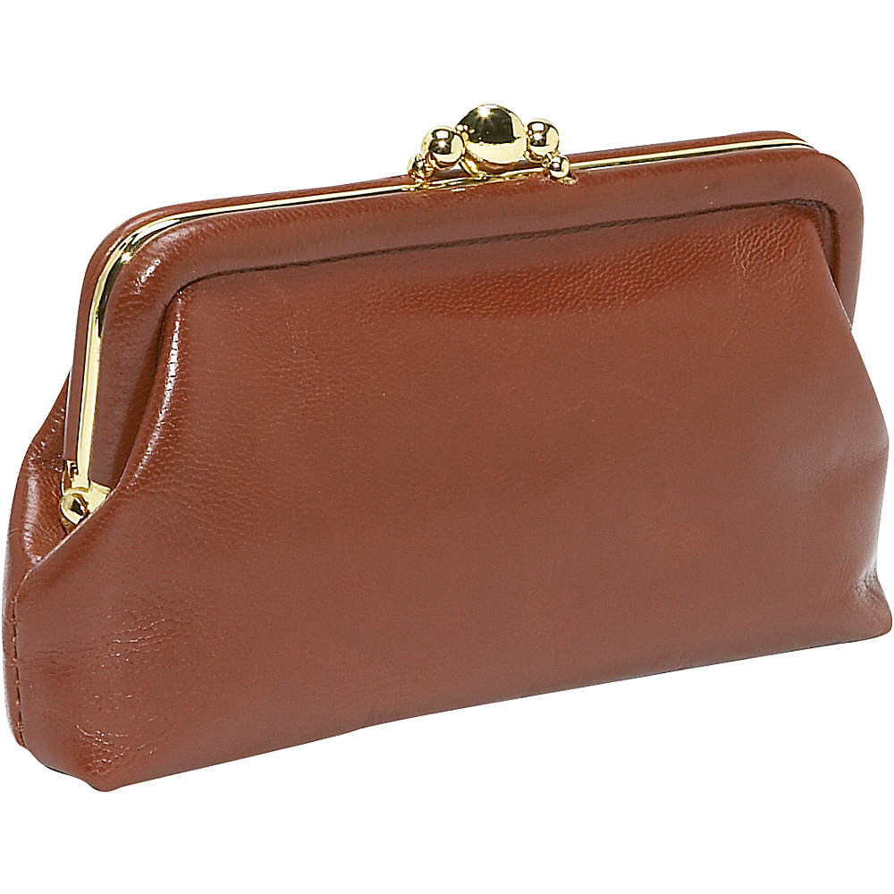 Budd Leather 5 Double Purse Tan