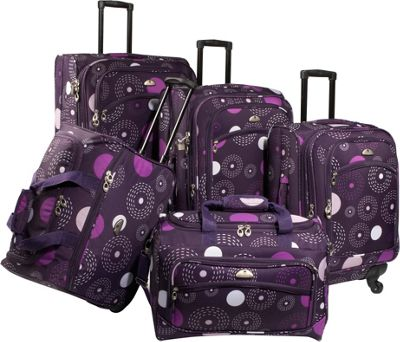 American Flyer Fireworks 5-Piece Spinner Luggage Set Purp...