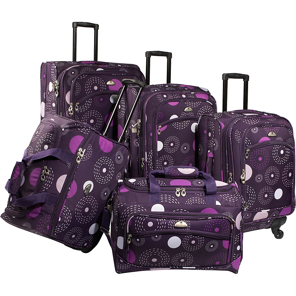 American Flyer Fireworks 5 Piece Spinner Luggage Set Purple American Flyer Luggage Sets