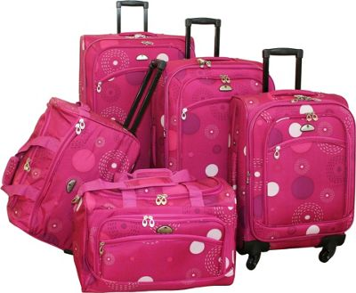 Image of American Flyer 5-Piece Spinner Luggage Set - Pink