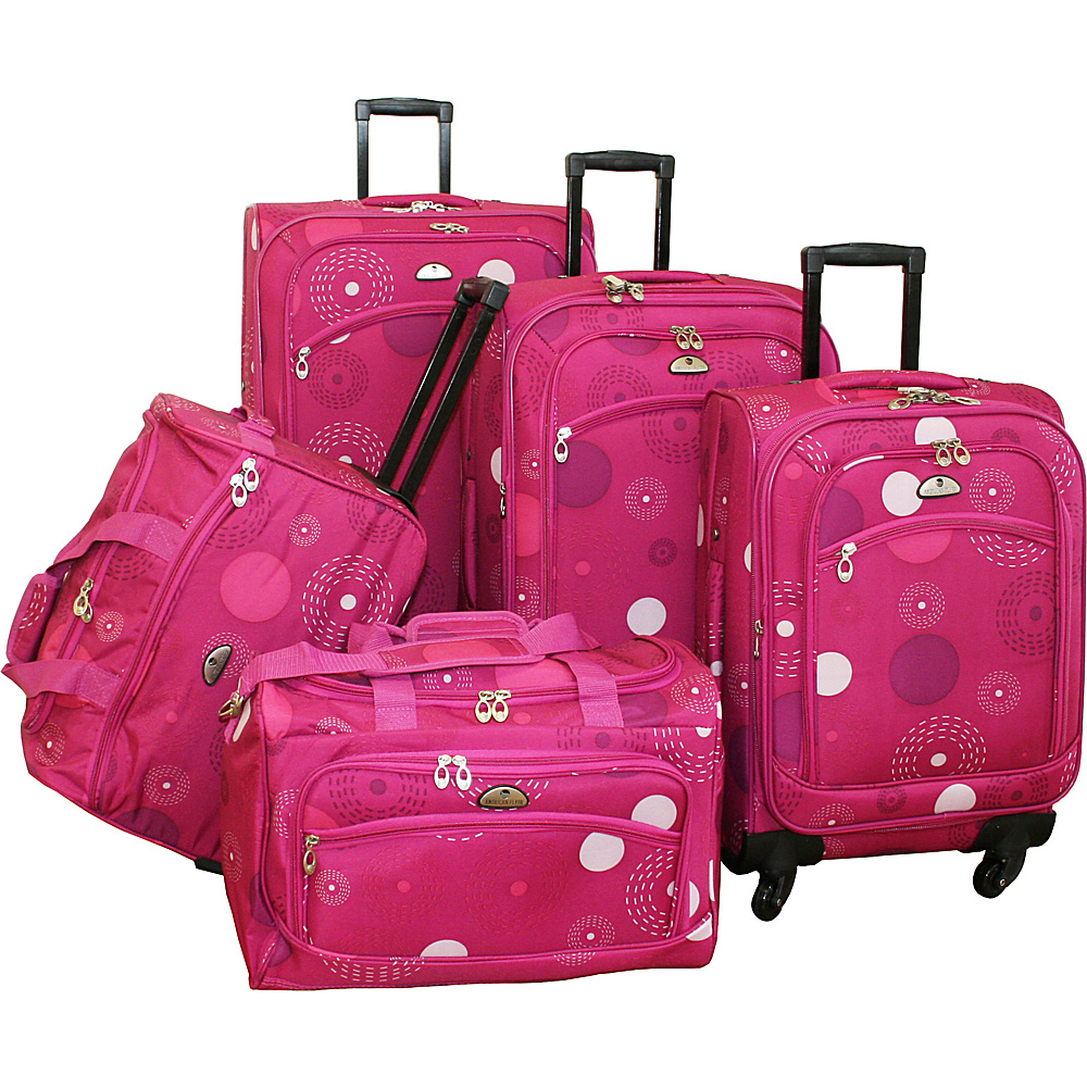 American Flyer 5 Piece Spinner Luggage Set Pink