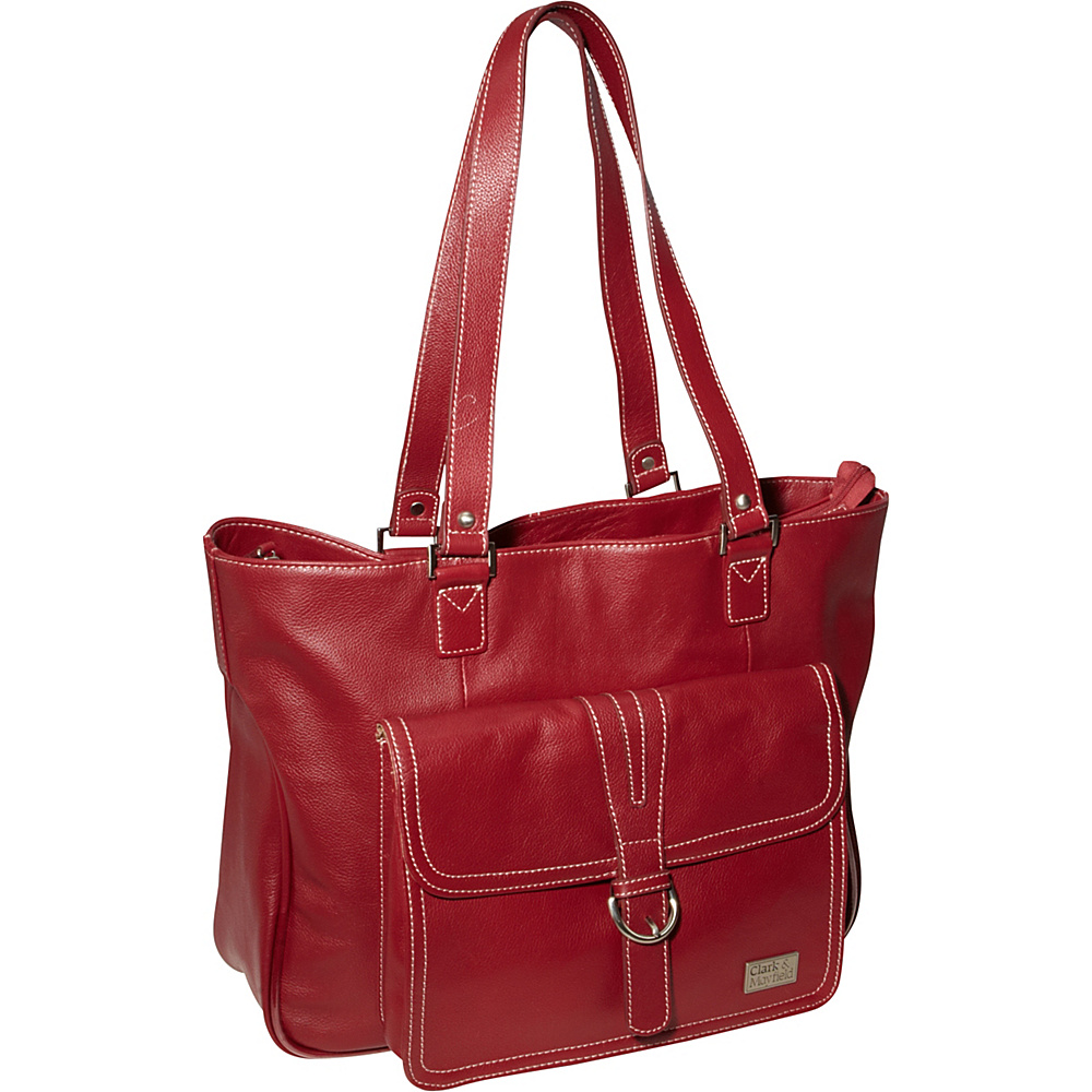 Clark Mayfield Stafford Pro Leather Laptop Tote 15.6 Deep Crimson Red Clark Mayfield Women s Business Bags