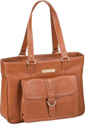 Clark & Mayfield Stafford Pro Leather Laptop Tote 15.6 inch Camel - Clark & Mayfield Women's Business Bags