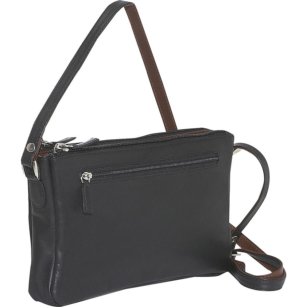 Derek Alexander EW Top Zip Organizer - BLACK/BRANDY - Handbags, Leather Handbags