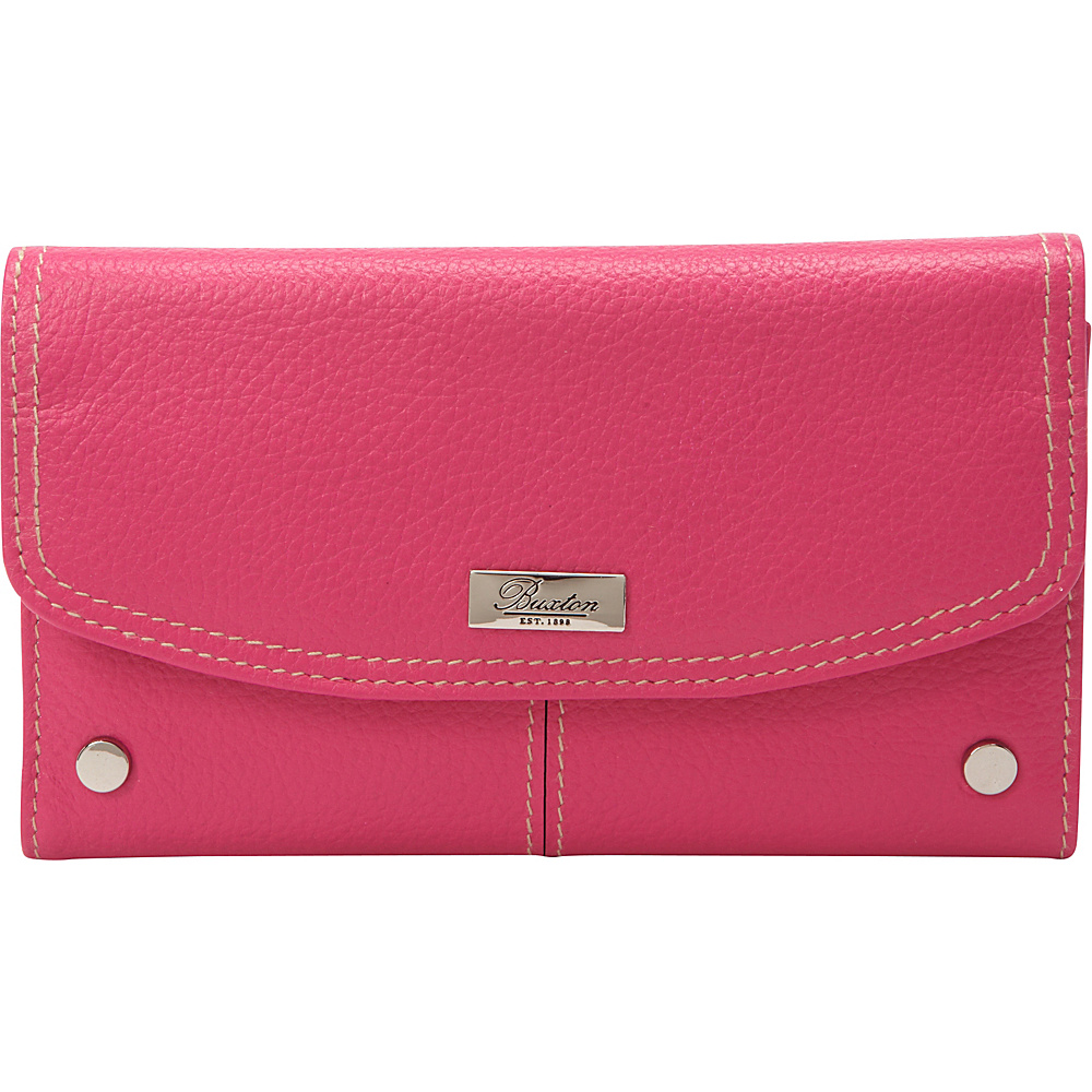 Buxton Westcott Checkbook Clutch Fuchsia Pink - Buxton Womens Wallets - Women's SLG, Women's Wallets