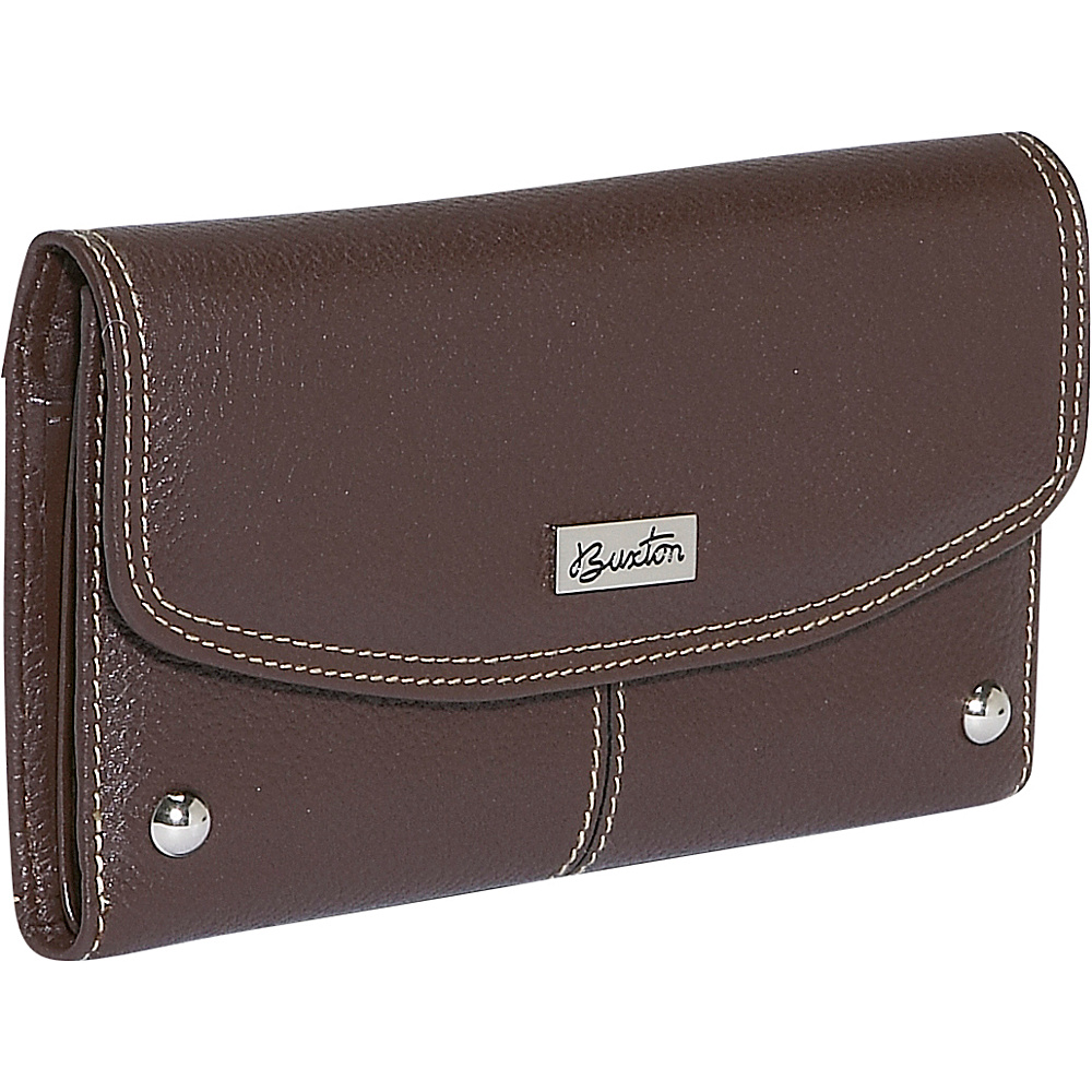 Buxton Westcott Checkbook Clutch - Brown - Women's SLG, Women's Wallets