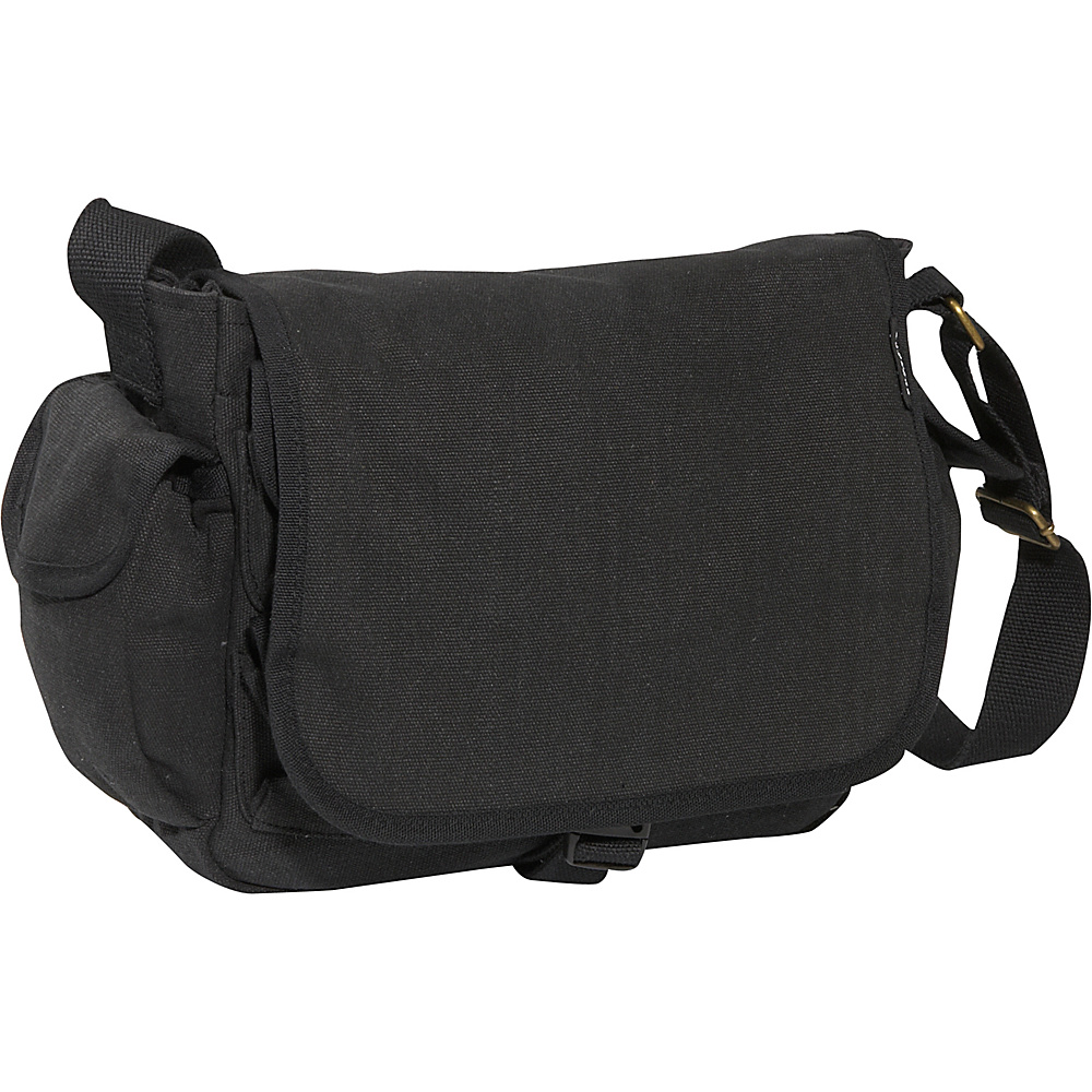 Everest Cotton Canvas Messenger Bag - Black